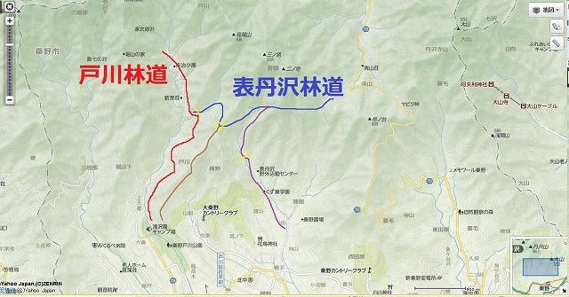 戸川林道付近の地図