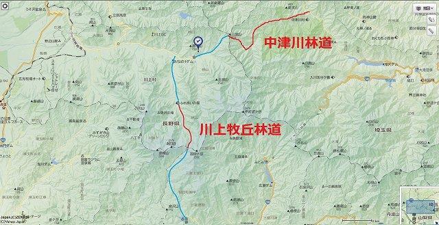 中津川林道周辺のルート