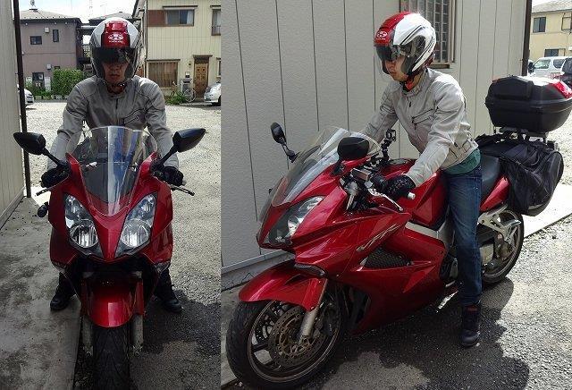 OGK ASAGIを被ってバイクにまたがる