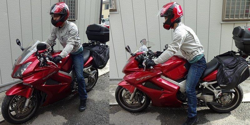 バイクにまたがる