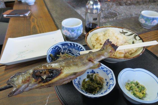 炊き込みご飯とイワナの塩焼き