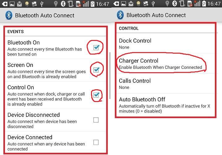BluetoothAutoConnectの設定画面